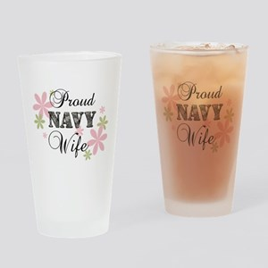 Navy Wife [fl camo] Drinking Glass